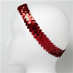 "1 1/4"" Metallic Sequin Stretch Headband Red"