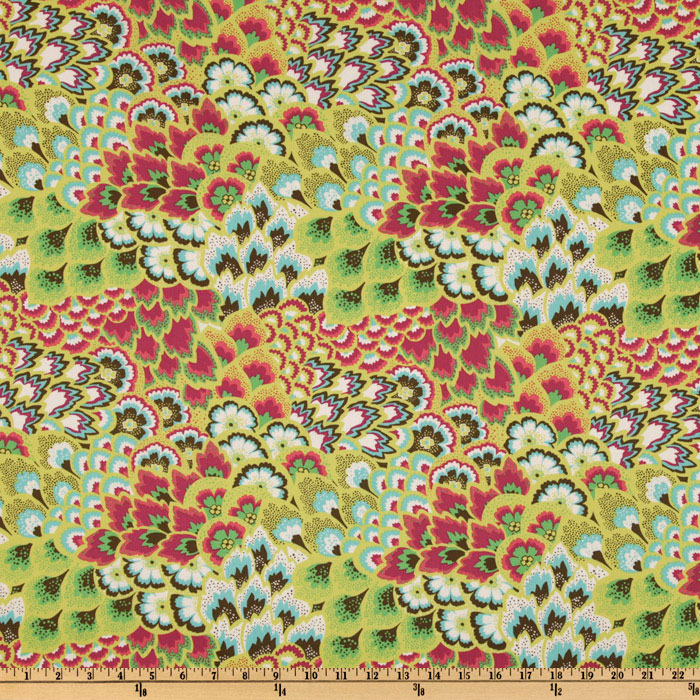 Amy Butler Soul Blossoms Bliss Peacock Bright Pear