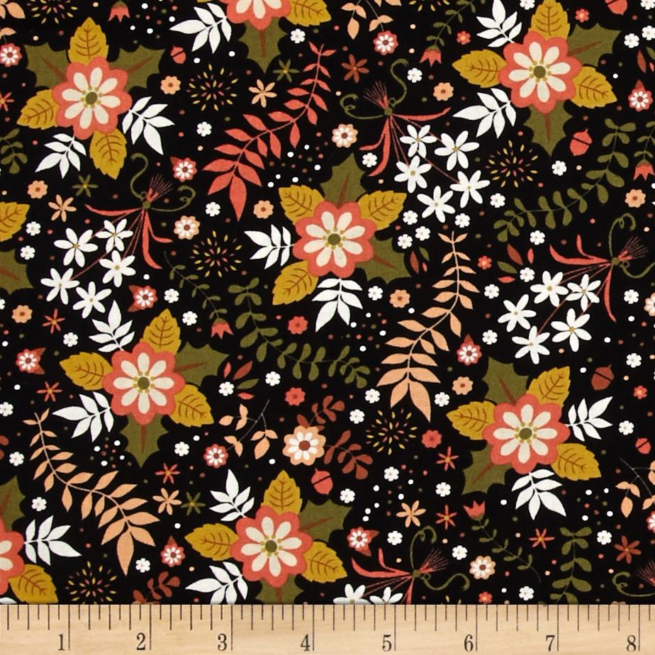 Sly as a fox floral black discount designer fabric for Fox print fabric
