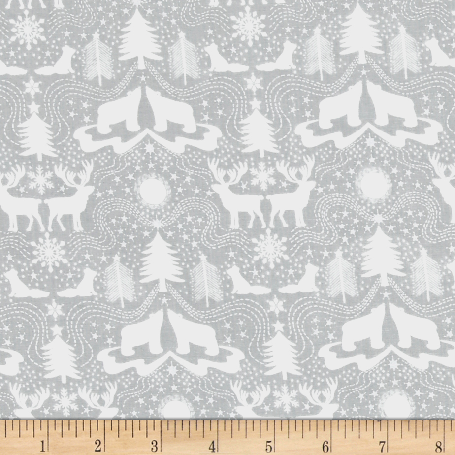Lewis & Irene Northern Lights Metallic Northern Silhouettes Grey Fabric by E. E. Schenck in USA