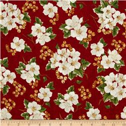 Christmas Tidings Floral Clusters Red