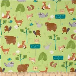 Wonderful Woodlands Critters Allover Green