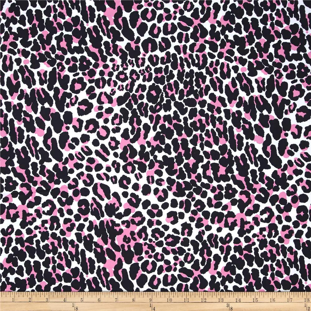 Poly Lycra Jersey Knit Swimwear Capset Cheetah Pink/Blue/White