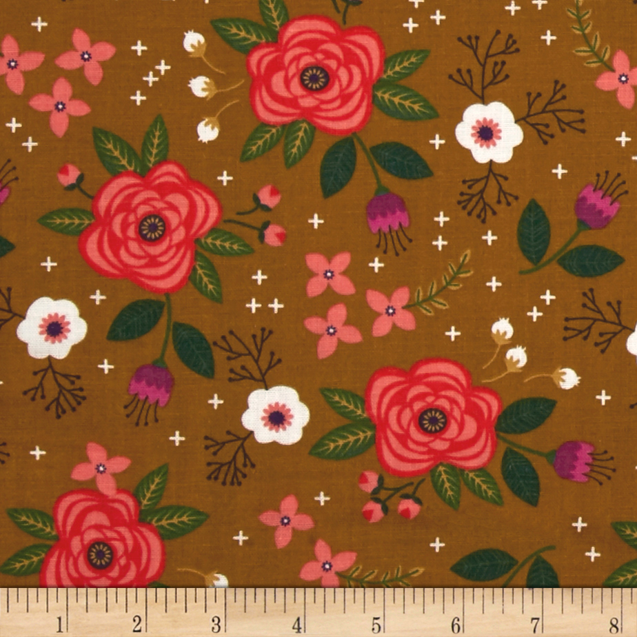 Enchanted Floral Double Gauze Olive Fabric by Eugene in USA