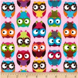 Timeless Treasures Flannel Owls Pink