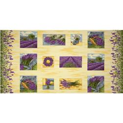 Lavender Bliss Scenic Block Double Border Panel Yellow/Purple