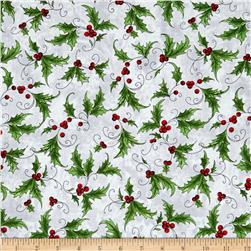 Seasons Greetings Holly Spray Grey