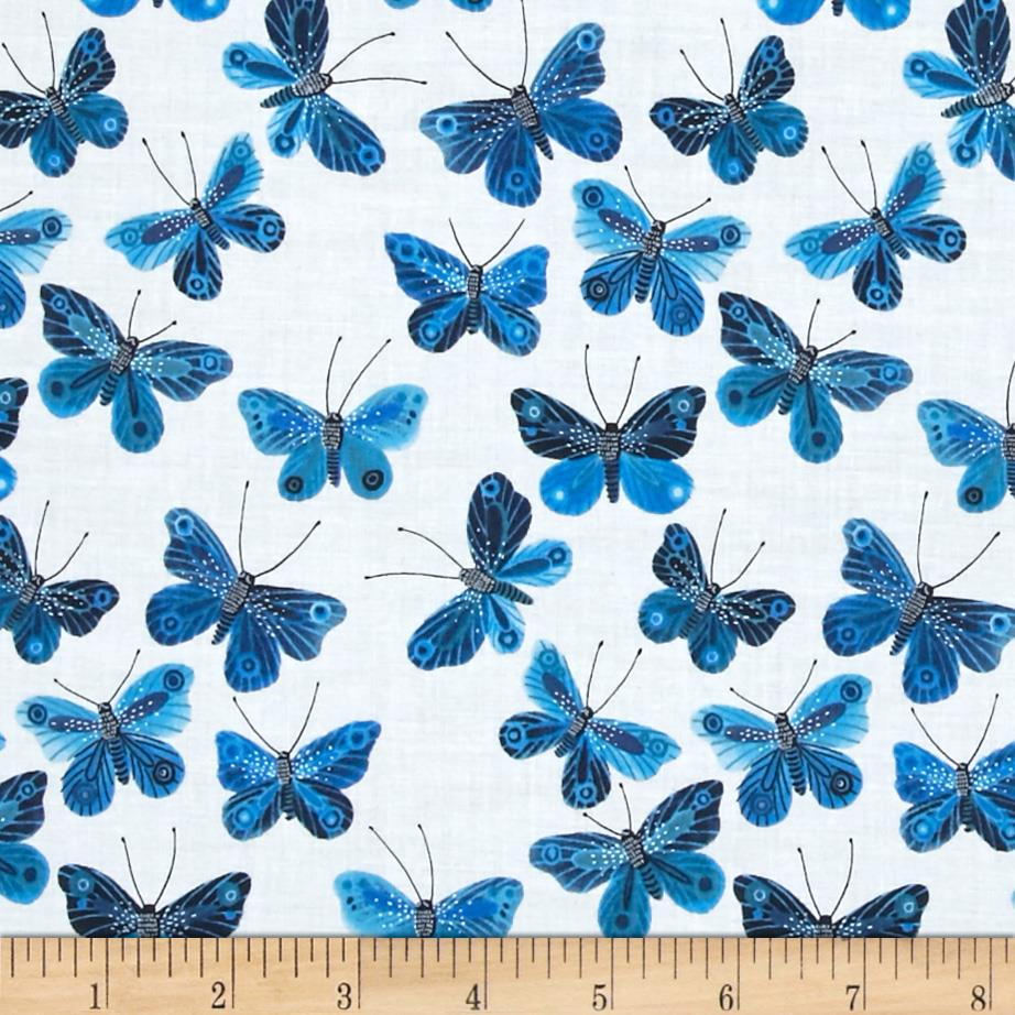 Cloud 9 Organic Moody Blues Voile Butterflies