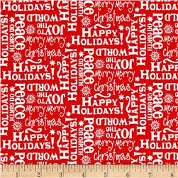 Novelty Christmas Words Red
