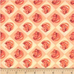 Rodeo Roundup Horse In Show Coral Fabric
