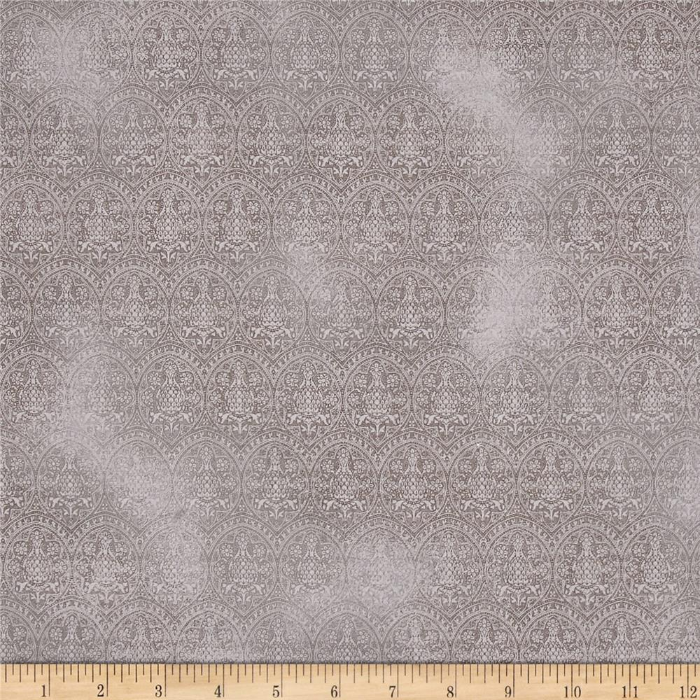 Letters From The Heart Lace Damask Light Gray Fabric
