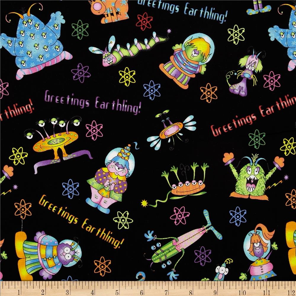 Welcome to my world alien toss black discount designer for Alien fabric