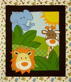 Safari Flannel Fun Quilt Top Panel Multi