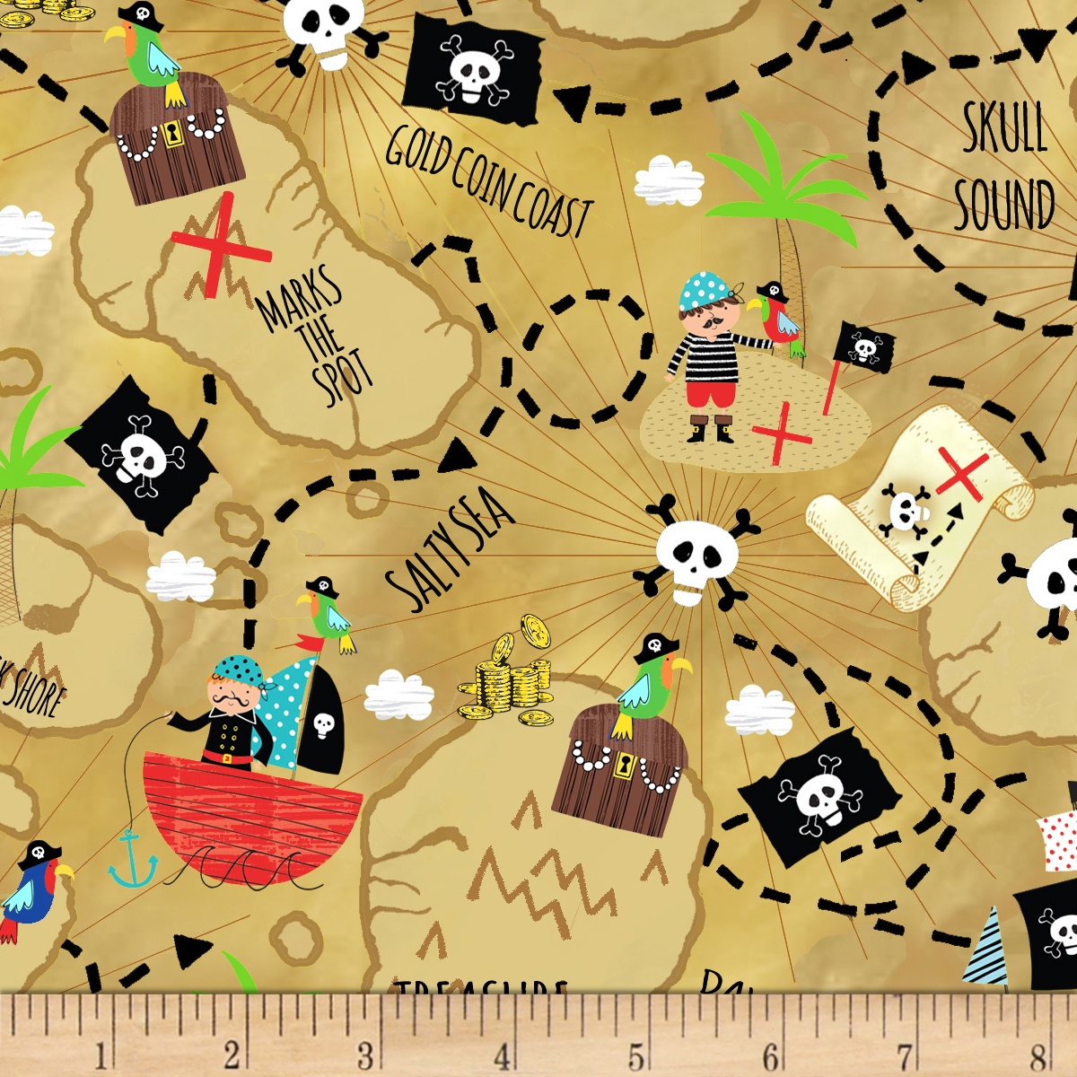 Timeless Treasures Treasure Island Treasure Map Sand Fabric