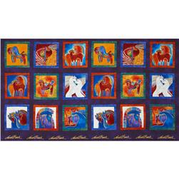 Laurel Burch Embracing Horses Metallic Block Multi