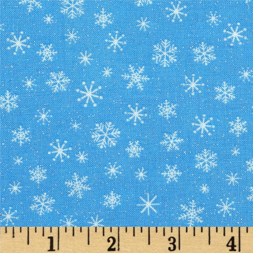 Let It Snow Glitter Snowflake Tonal Blue