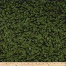 Timeless Treasures Cabin Flannel Packed Pine Needles Green
