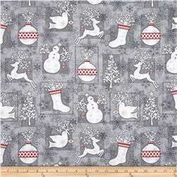 Holiday Frost Christmas Motifs Grey