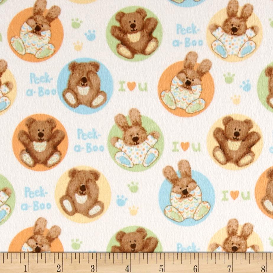 Peek-A-Boo Flannel Bears in Circles Blue