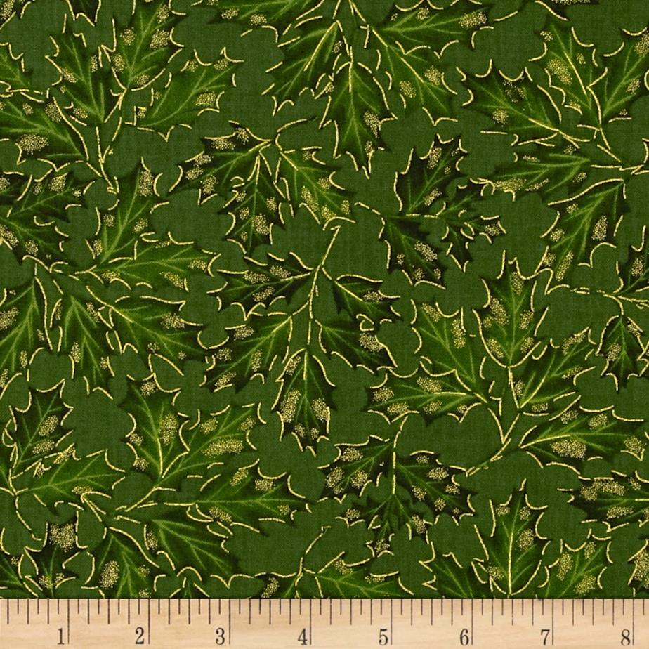 Timeless Treasures Comfort & Joy Metallic Holly Leaf Green