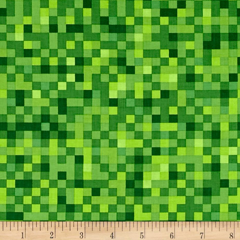 Timeless Treasures Gamer Pixelated Squares Green