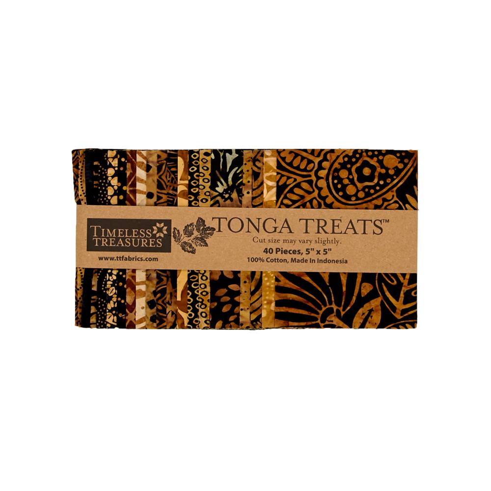 "Timeless Treasures Tonga Batik  5"" Square Packs Chai"