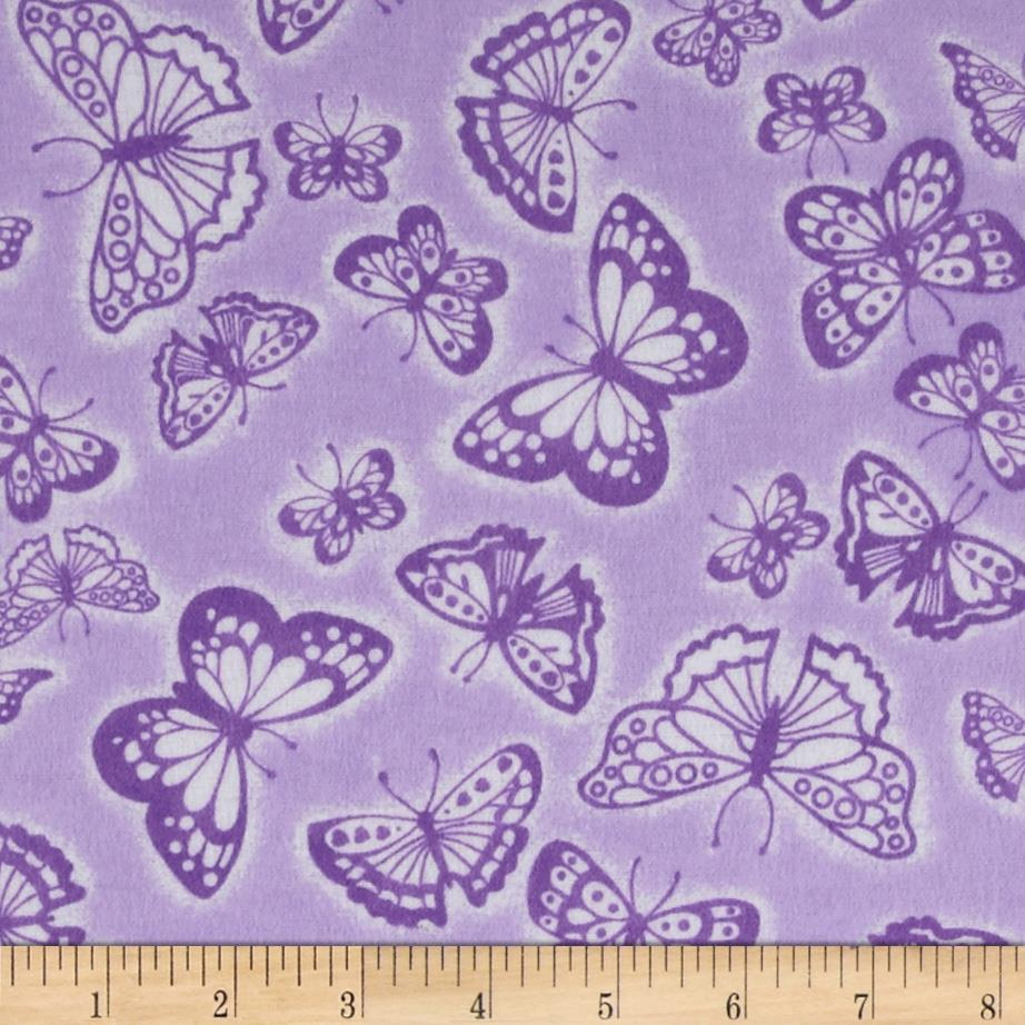 Flannel Tossed Butterflies Purple