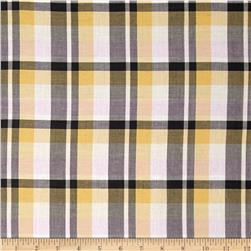 Yarn Dyed Plaid Shirting Yellow/Black Fabric