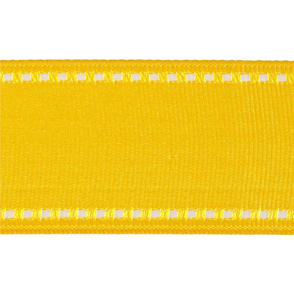 "1 1/2"" Grosgrain Stitched Edge Ribbon Yellow/White"