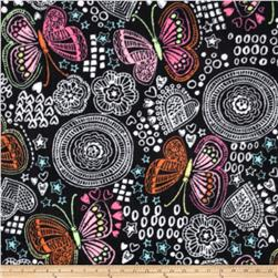 Winterfleece Butterfly Doodles Multi Fabric