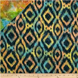 Double Sided Quilted Indian Batik Ikat Navy