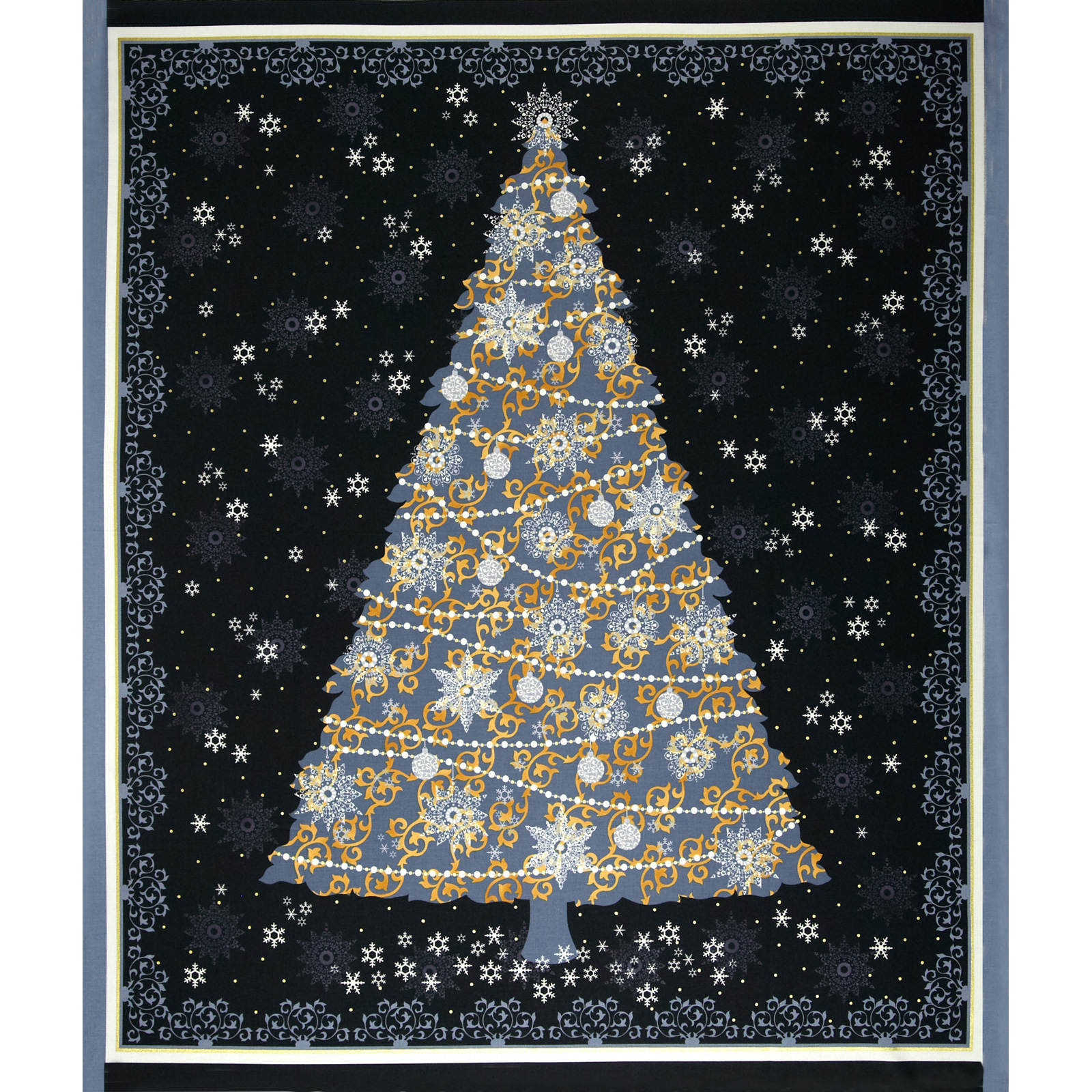 Celebrate the Season Metallic Christmas Tree Panel Black