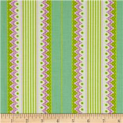 Heather Bailey Lottie Da Carousel Stripe Turquoise Fabric