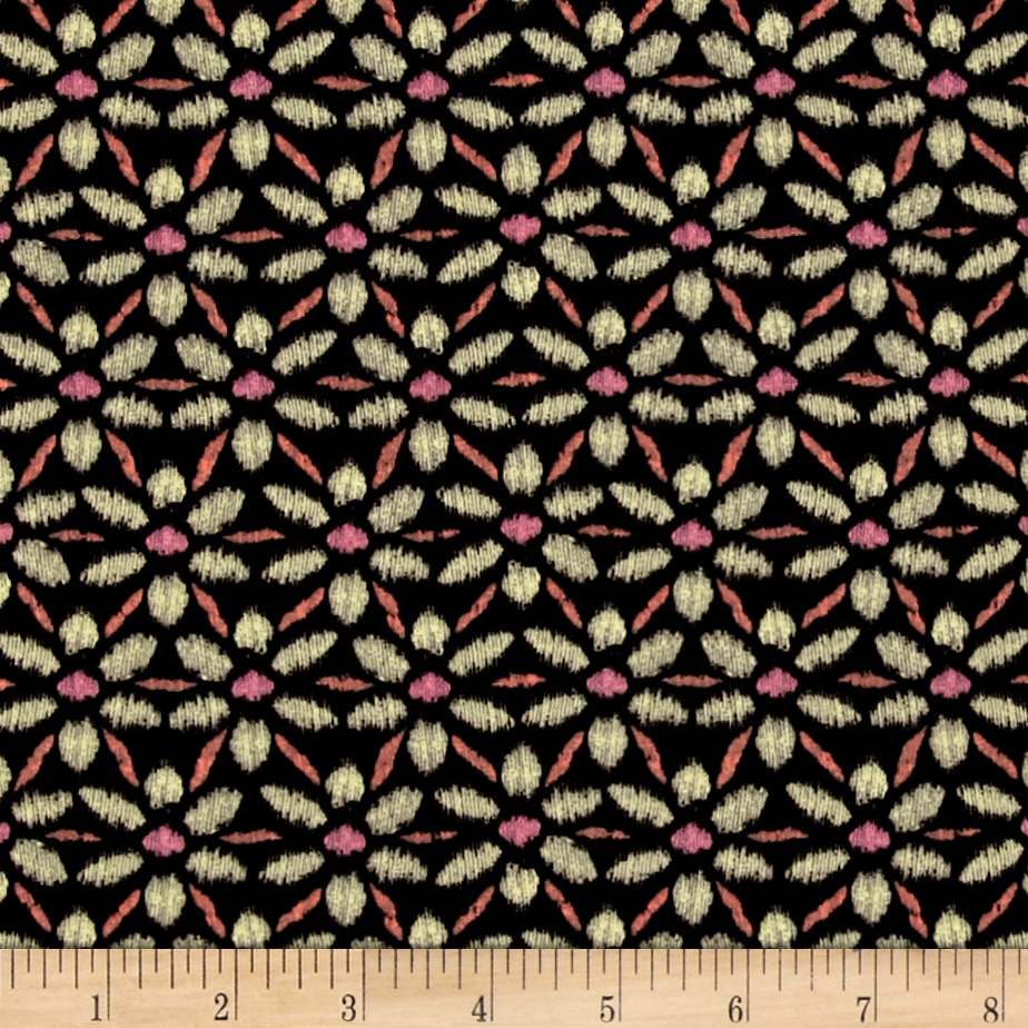 Image of Bromley Ikat Floral Black Fabric