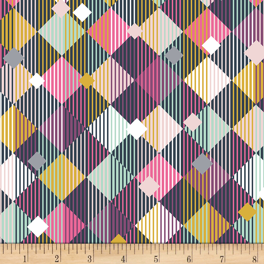 Bolt By Girl Charlee Homestead Life Jersey Knit Linear Diamonds Multi Fabric