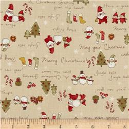 Lecien Merry Taupe Christmas Words Taupe