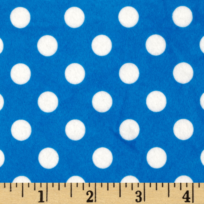Minky Minnie Dots Royal Blue/White Fabric