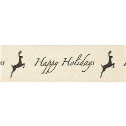 3/4'' Woven Ribbon Happy Holidays Ivory