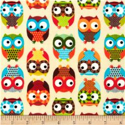 Timeless Treasures Flannel Owls Cream