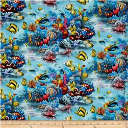 Enchanted Waters Angel Fish Blue Fabric