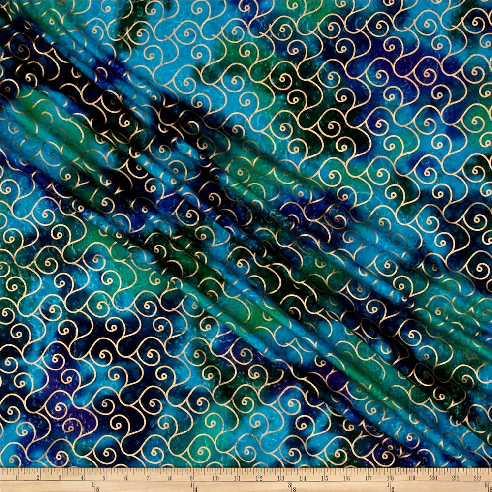 Indian Batik Montego Bay Gold Scroll Blue/Green/Purple