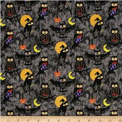 Halloween H'owl Hoot Owls Black Fabric