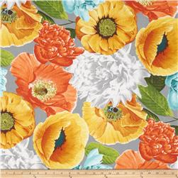 Tempo Poppies Twill Grey/Orange