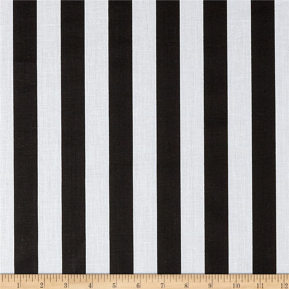 Cotton Blend Broadcloth 1 in. Stripe Black/White