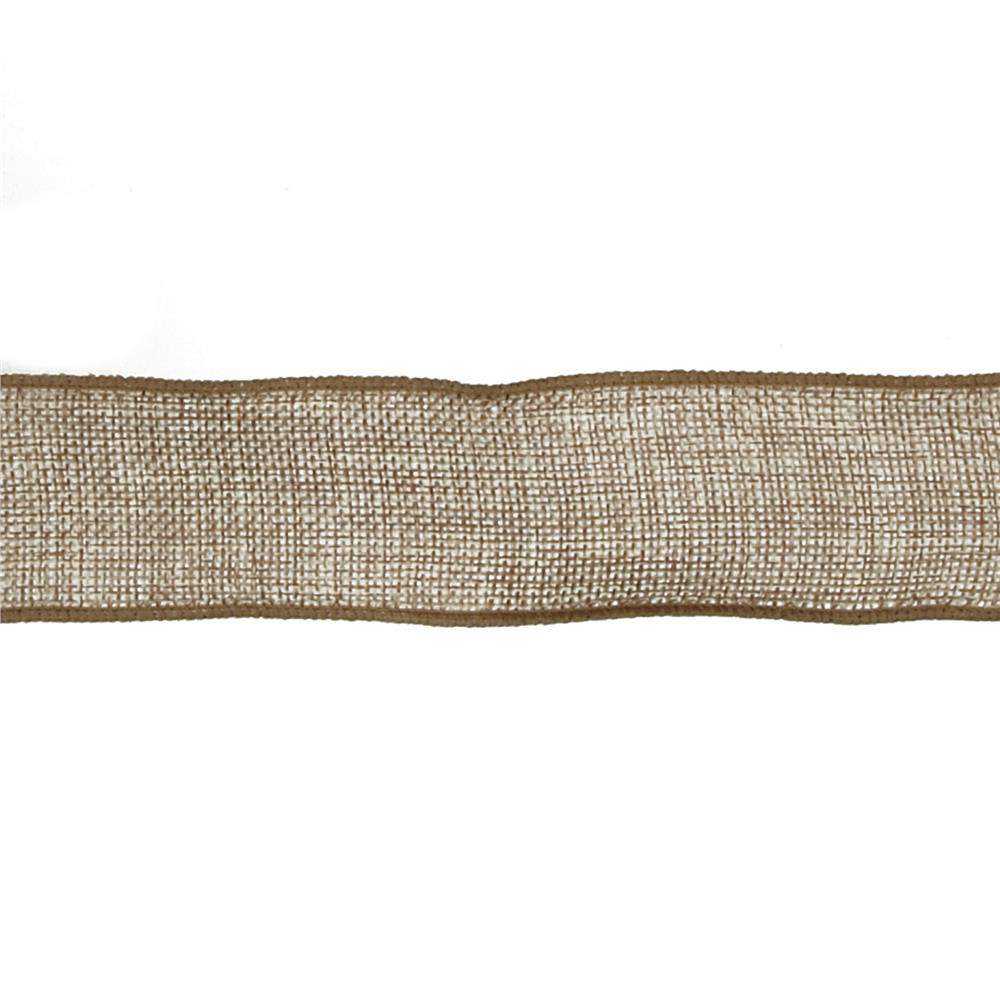 "1 1/2"" Faux Burlap Wired Ribbon Natural"