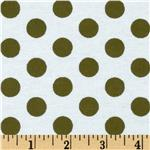 Aunt Polly's Flannel Large Polka Dots White/Green