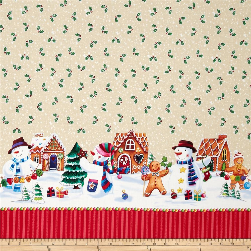 Happy Holidays Snowman Border Ivory