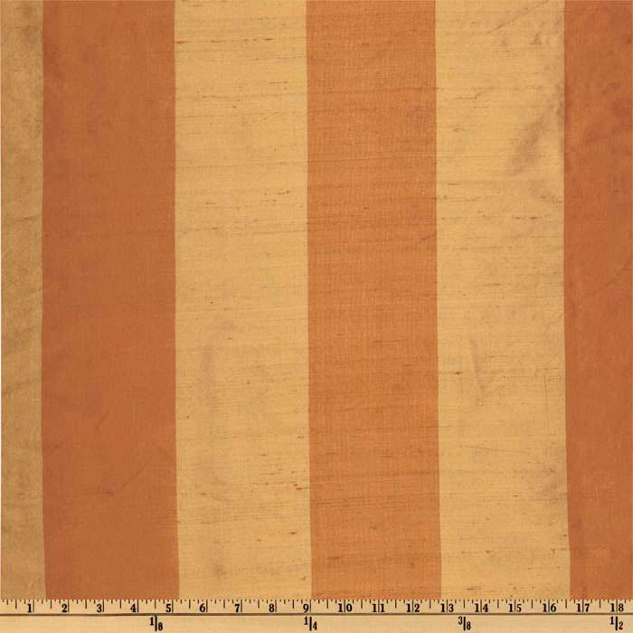 Dupioni Silk Tri-Color Stripe Terracotta