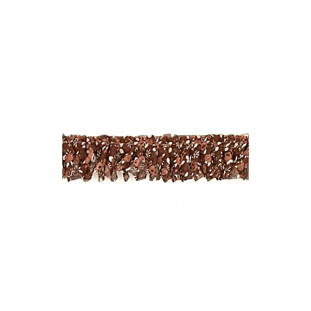 "1"" Fabric Prairie Ruffled Trim Brown"