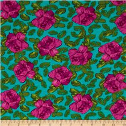 Stretch Rayon Jersey Knit Roses Magenta/Seafoam